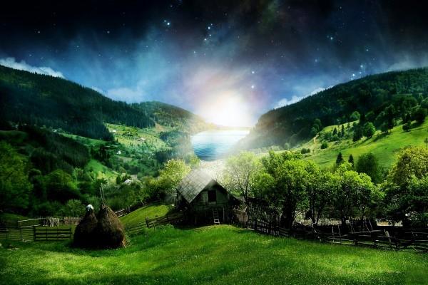 Cielo estrellado e iluminado sobre un lago