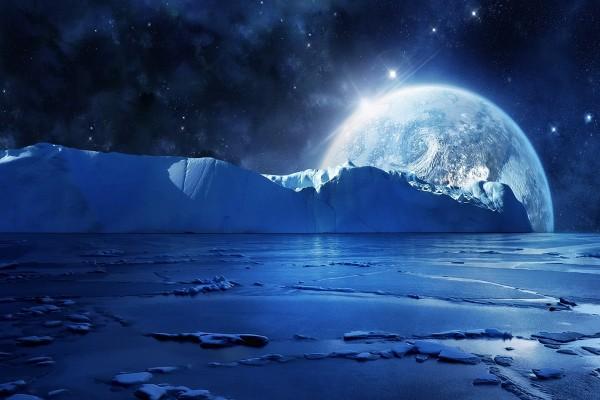 Planeta visto desde un lugar helado