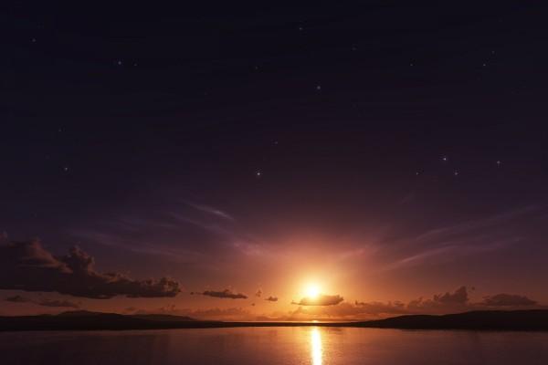 Un cielo con sol y estrellas