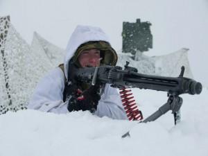Postal: Soldado en la nieve