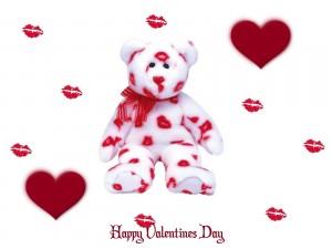 Postal: Oso cubierto de besos para un Feliz Día de San Valentín