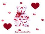 Oso cubierto de besos para un Feliz Día de San Valentín