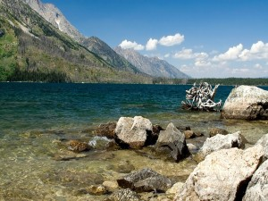 Rocas y piedras en la orilla de un río