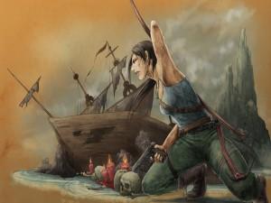 Postal: Mujer en una isla pirata
