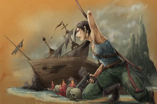 Mujer en una isla pirata