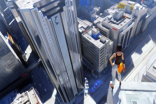 Mujer en lo alto de un edificio de una ciudad futurista
