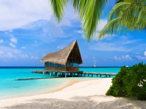Postal: Pequeño muelle en la playa