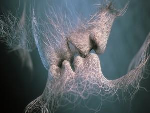 Postal: Beso de amor