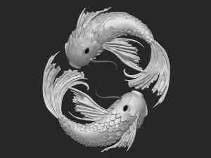 Peces representando al horóscopo de Piscis