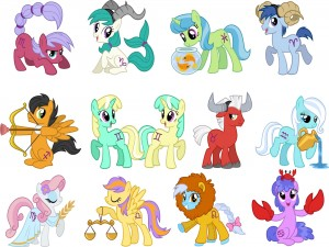 Ponis representando los horóscopos