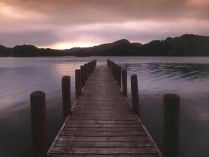 Muelle de madera sobre un lago