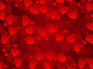 Postal: Imagen cubierta de pequeños corazones