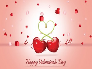 Cerezas formando un corazón y Feliz Día de San Valentín