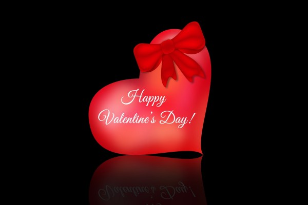 ¡Feliz Día de San Valentín! sobre un corazón