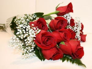 Postal: Un bello ramo de rosas rojas y paniculata