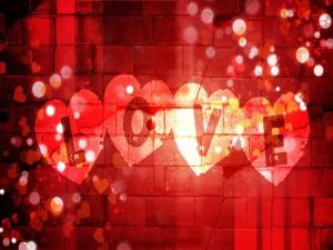 Postal: Love y corazones
