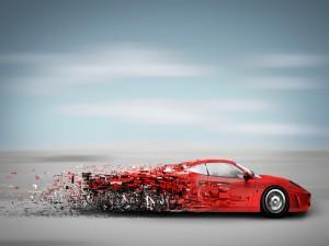 Postal: Desintegración de un coche deportivo