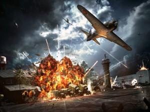 Postal: Bombardero atacando una base militar