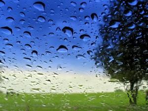 Agua en una ventana con vistas al campo