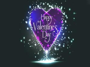 Postal: Feliz Día de San Velntín en un corazón luminoso