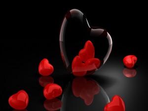 Pequeños corazones rojos
