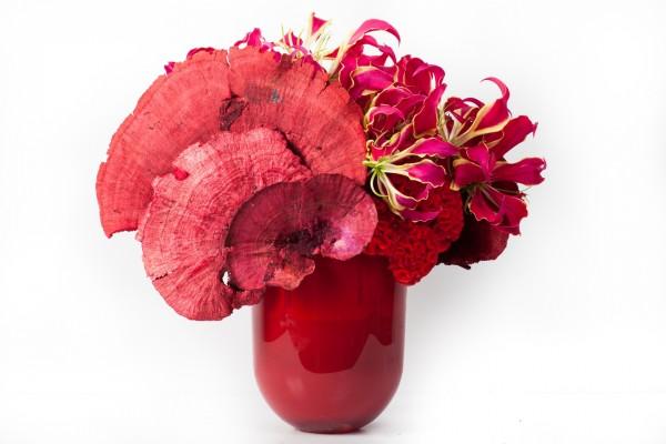 Un jarrón con flores rojas