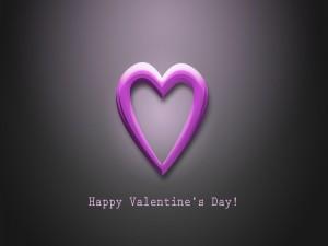 Corazón púrpura y ¡Feliz Día de San Valentín!