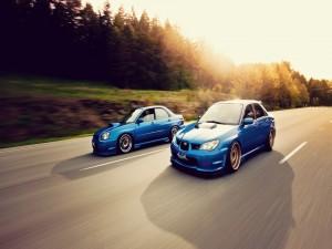 Postal: Dos coches Subaru de color azul en la misma carretera