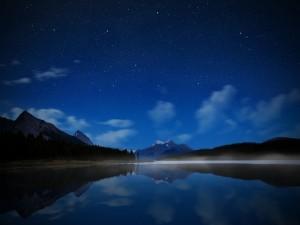 Hermoso paisaje con un cielo estrellado