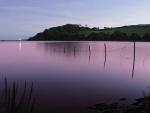 Destello de luz visto desde la orilla del lago