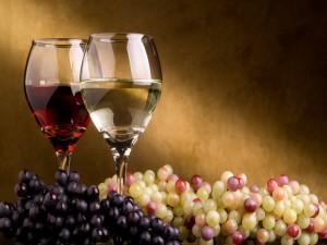 Copas con dos tipos de vino