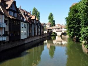 Postal: Río Pegnitz a su paso por Núremberg, Alemania