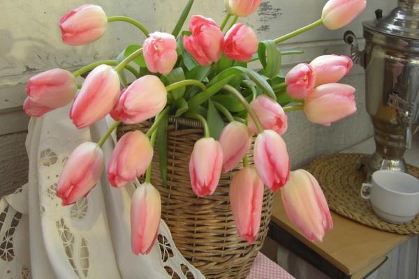 Tulipanes de color rosa en una cesta