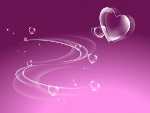 Postal: Bellos corazones en un fondo lila