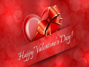 ¡Feliz Día de San Valentín! en un fondo rojo