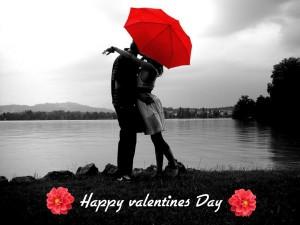 Postal: Pareja besándose en el Día de San Valentín