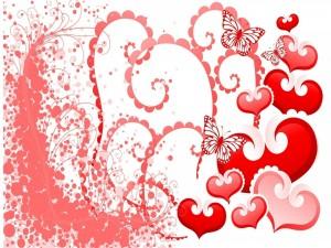 Postal: Imagen amorosa con corazones y mariposas