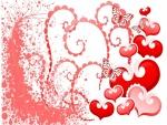 Imagen amorosa con corazones y mariposas