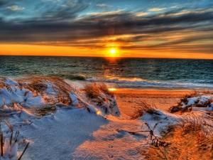 Postal: Nieve en una playa