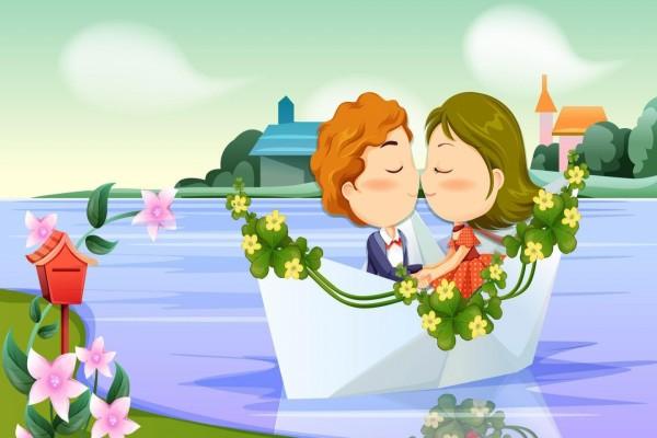 Pareja de enamorados paseando en bote