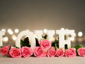 """Rosas color rosa junto a la palabra """"Love"""""""