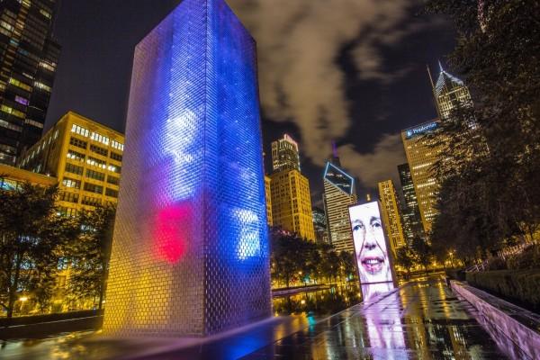Edificios iluminados en Chicago