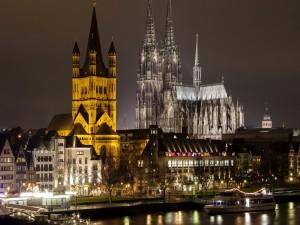 Postal: Noche en Colonia (Alemania)