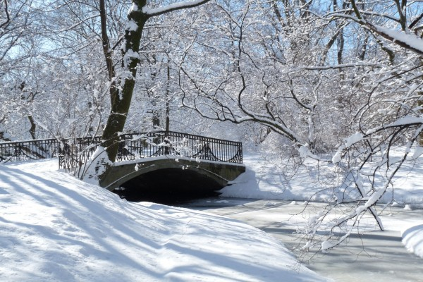 Puente cubierto de nieve sobre un río helado