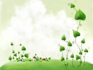 Plantas creciendo entre las pequeñas casas