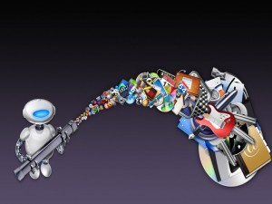 Postal: Robot recogiendo iconos