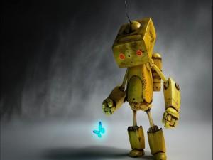 Robot observando a una mariposa