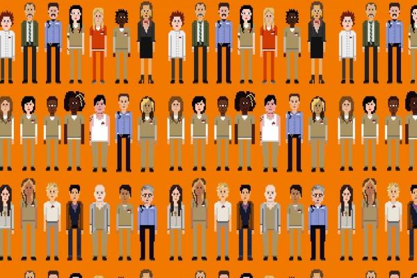Personajes pixelados de Orange is the new Black