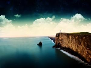 Faro junto al gran acantilado