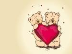 Osos sosteniendo un gran corazón